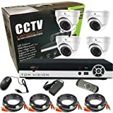 Tomvision 4Channel AHD CCTV Kit 960P/2.0MP Camera 4CH Kit with Hybrid 5in1 1080N DVR Security Recording System with 4pcs Plastic Indoor Dome Camera Alarm System&P2P Clouds Home Security
