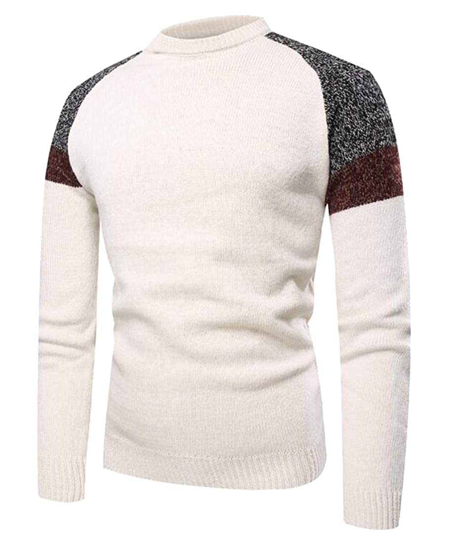 Jofemuho Mens Casual Color Block Knit Long Sleeve Slim Fit Crewneck Pullover Sweater