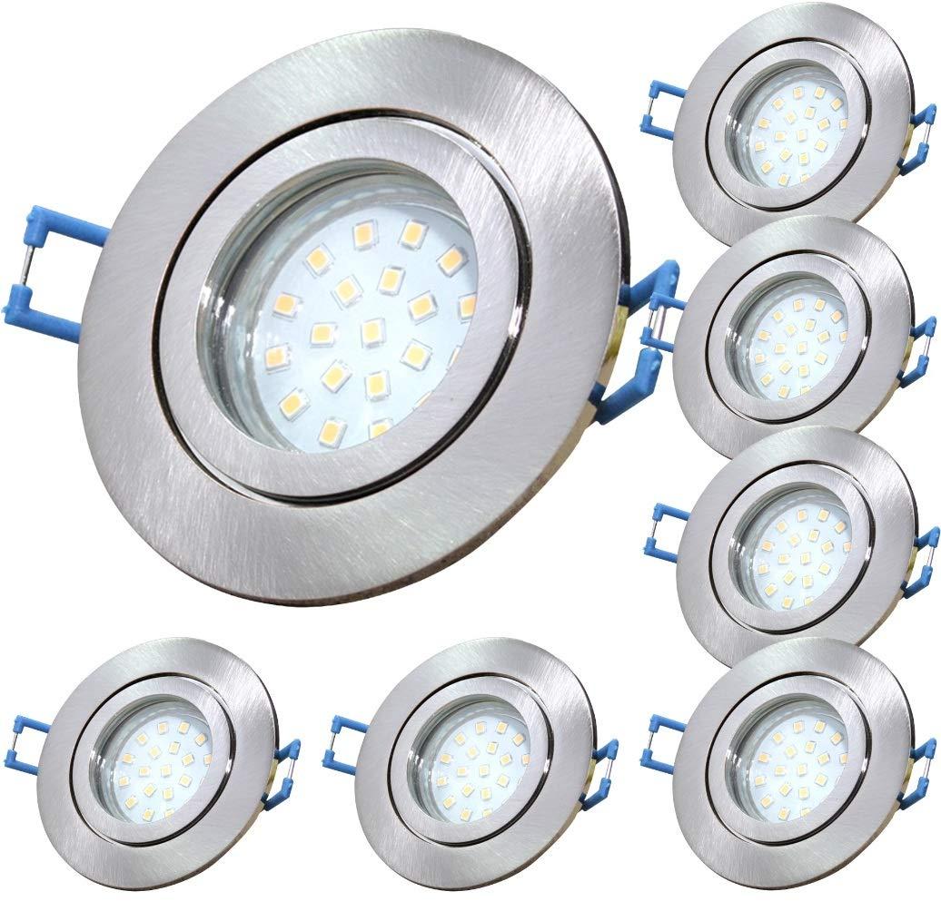 10 St/ück IP44 SMD Modul Bad Einbauleuchte Neptun 230 Volt 5 Watt Dimmbar Rund Farbe BiColor Lichtfarbe Neutralwei/ß