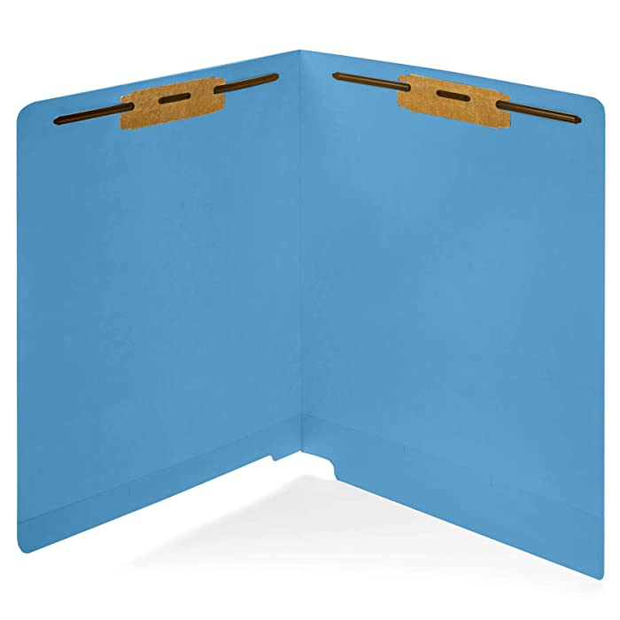 50 Blue End Tab Fastener File Folders- Reinforced Straight Cut Tab- Durable 2 Prongs Designed to Organize Standard Medical Files, Receipts, Office Reports - Letter Size, Blue, 50 Pack