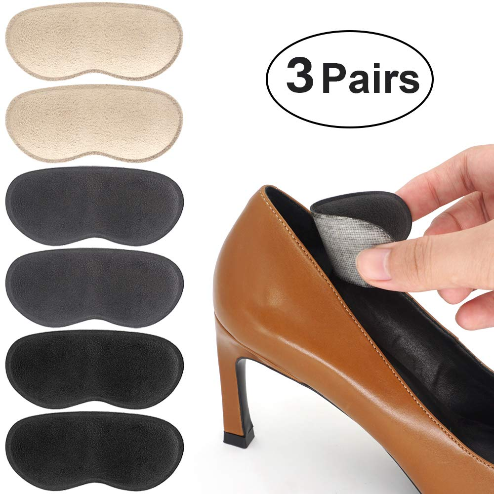 Dr. Foot's Heel Grips for Ladies Shoes, Shoes Too Big, Back Inserts Protect from rubbing and Slipping for Men and Women (Beige+Grey+Black)