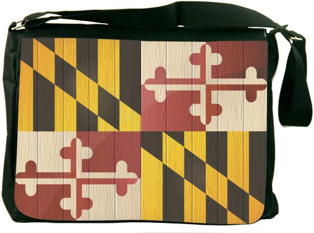 Rikki Knight Maryland Flag on Distressed Wood Messenger Bag School Bag