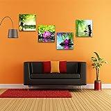 Zen arte lienzo impresiones Spa pared decoración 4 Panel lienzo arte moderno cuadros enmarcado listo para colgar - Spa Masaje tratamiento rojo Frangipani orquídea bambú nenúfar negro piedra en jardín