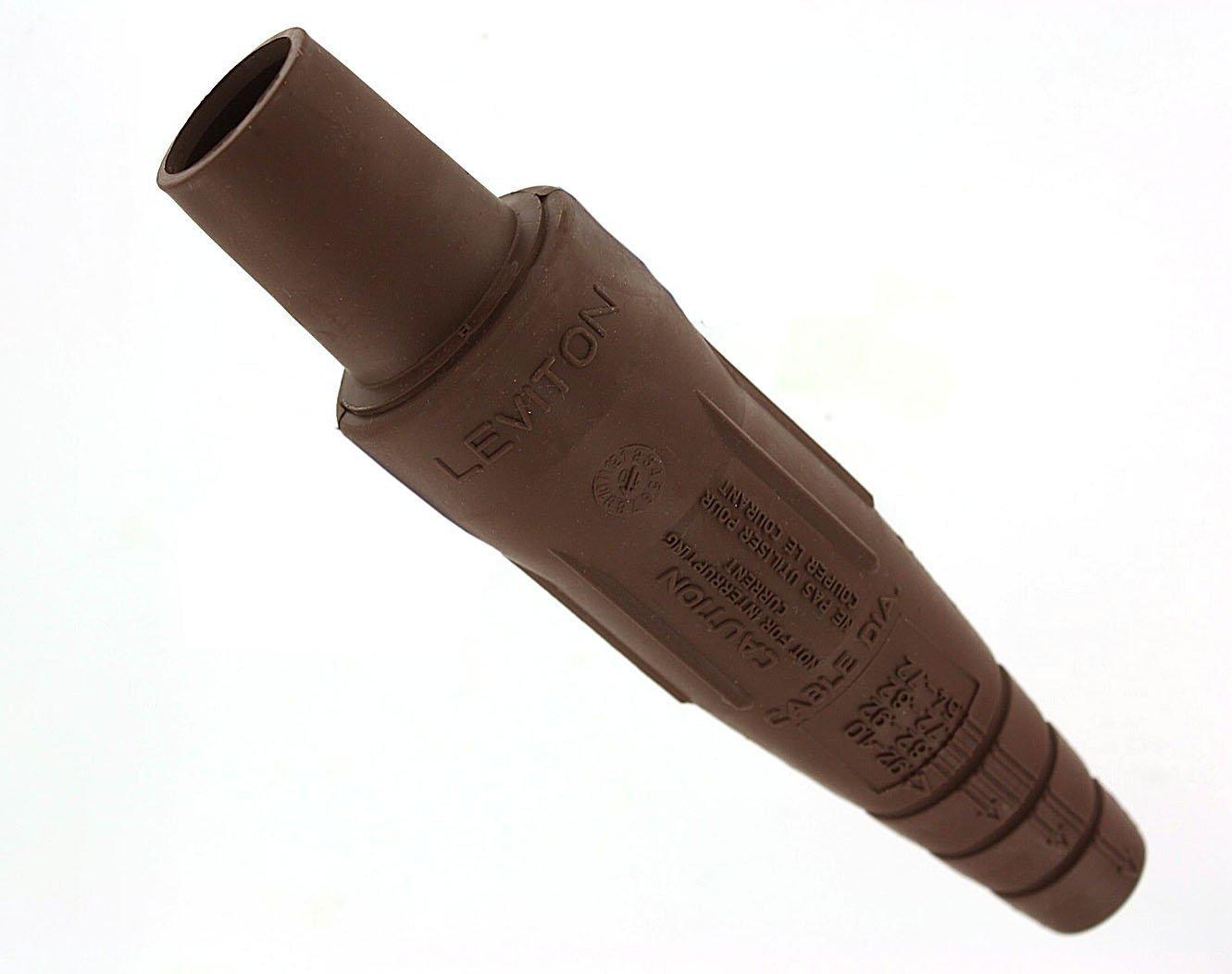 Leviton 16D33-UH 16-Series Taper Nose, Female Plug, Contact, Double Set Screw Termination, Brown
