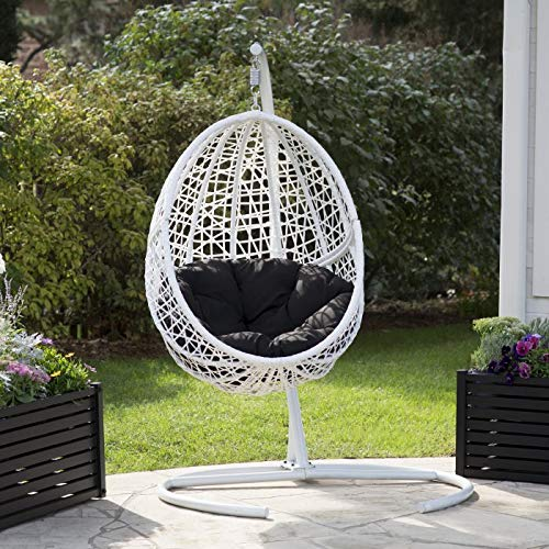 White Resin Wicker Hanging Egg Chair w/Stand Outdoor Patio Lounge Furniture Includes Black Cushion ...