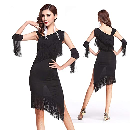 Falda elegante espectáculo Vestido de baile latino con mangas de ...