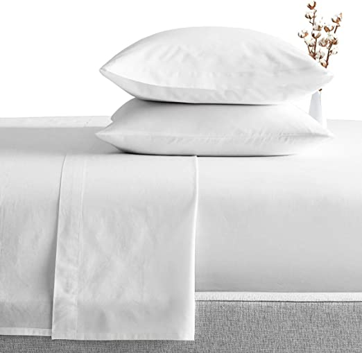 LUXURIOUS BEDDING SET ALL USA SIZE WHITE SOLID COTTON 800-TC 15 INCH DROP