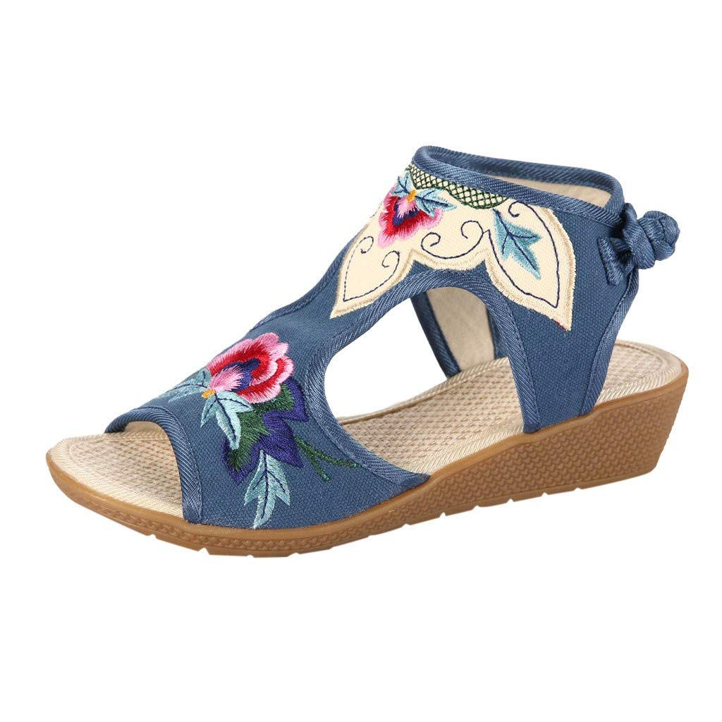 Womens Cutout Ankle Strap Wedges Sandals - Embroidered Chunky Low Heels Open Toe Pumps Dress Shoes (Blue, Size:40/US:7.5)