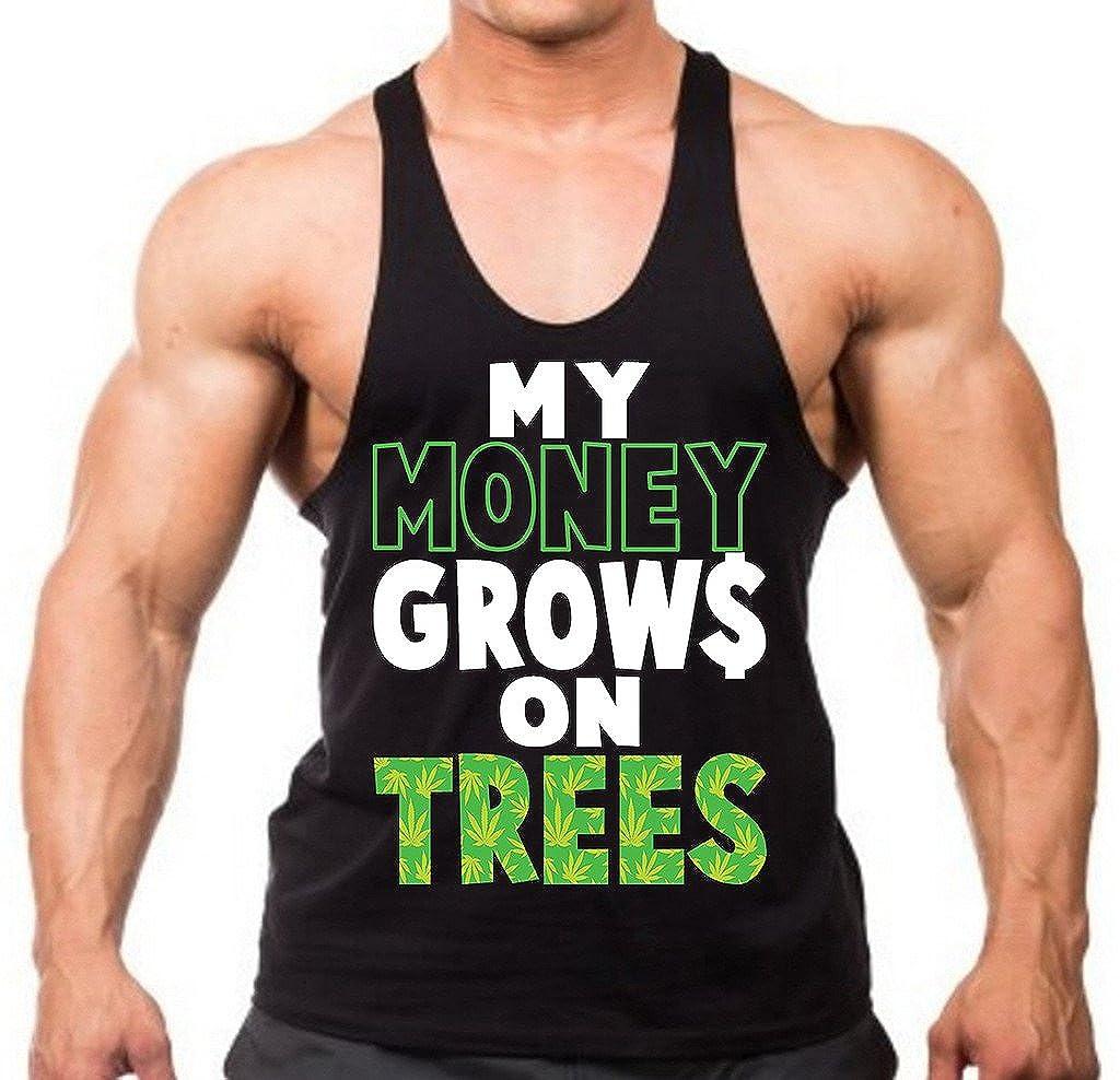Mens My Money Grows On Trees Black Stringer Tank Top Black