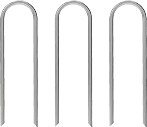 AAGUT 6 Inches Garden Stakes Heavy Duty 11 Gauge Galvanized Yard Staples Lawn U Pegs for Anchoring Tubing Drip Irrigation Hose, Wire, Weed Barrier Landscape Fabric 100 Pack