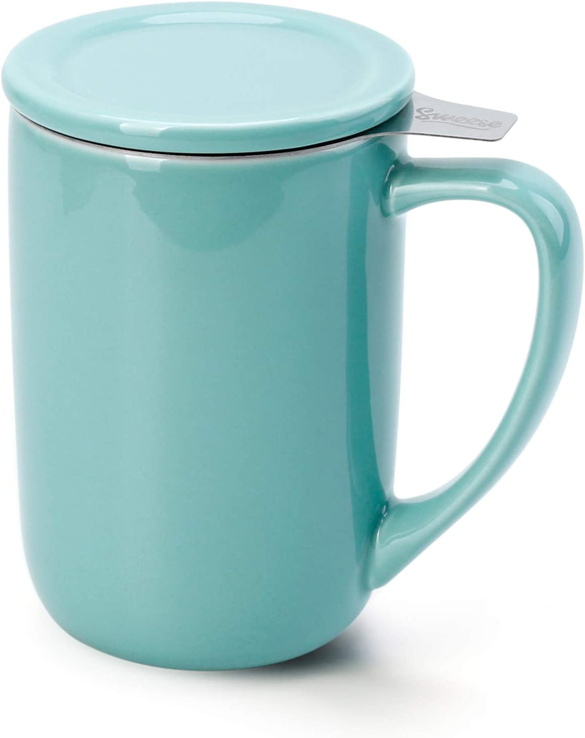 Sweese 203.102 Ceramic Tea Mug with Infuser and Lid, Single Cup Loose Tea Brewing System, Draw Your Own Design, 16 OZ, Turquoise
