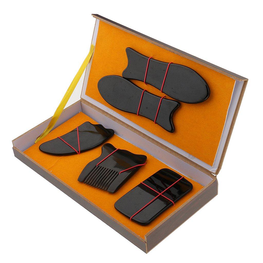 MagiDeal 5pcs Outils Complet Guasha Massage du Corps pour Gratter Relaxer Déclenchement du Cou Epaule Main Doigts
