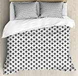 Fleur De Lis Duvet Cover Set King Size by Ambesonne, French Culture Inspired Motifs Dotted Lines Medieval Design Floral Pattern, Decorative 3 Piece Bedding Set with 2 Pillow Shams, Black White
