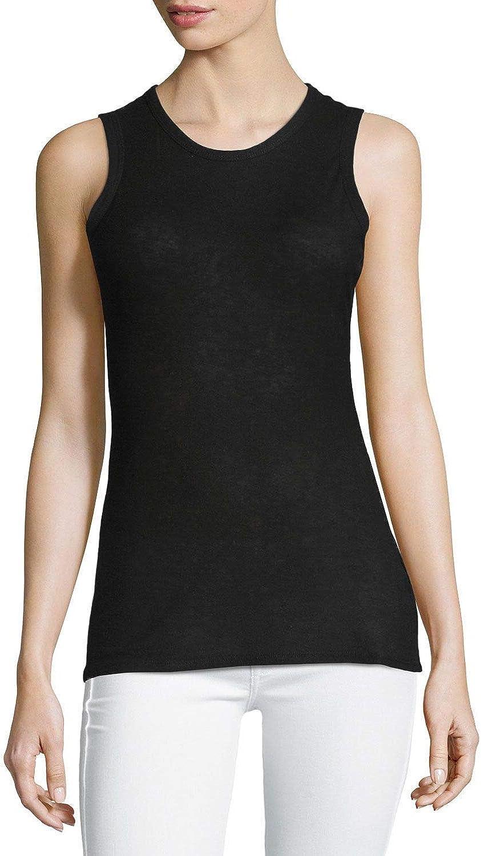 James Perse Womens Tomboy Cotton-Blend Tank Top Black