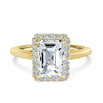 637f1bc4550c0 Samie Collection 2.4ctw Emerald Cut Cubic Zirconia Wedding Rings for Women  Anniversary Engagement Ring, White AAA CZ in Rhodium / 18K Yellow Gold ...