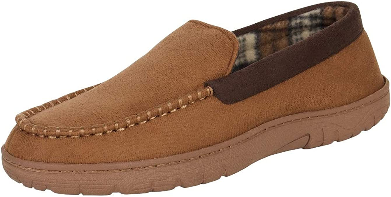 Hanes Men's Moccasin Slipper House Shoe with Indoor Outdoor Memory Foam Sole Fresh Iq Odor Protection, Tan, X-Large
