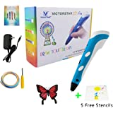 3D Pen with Paper Stencils and Screwdriver/Using Military Motor - VICTORSTAR RP100A Blue for 3D drawing 3D doodling/Compatible with ABS PLA Filament + 5 Stencils + Adapter + Filament + Screwdriver