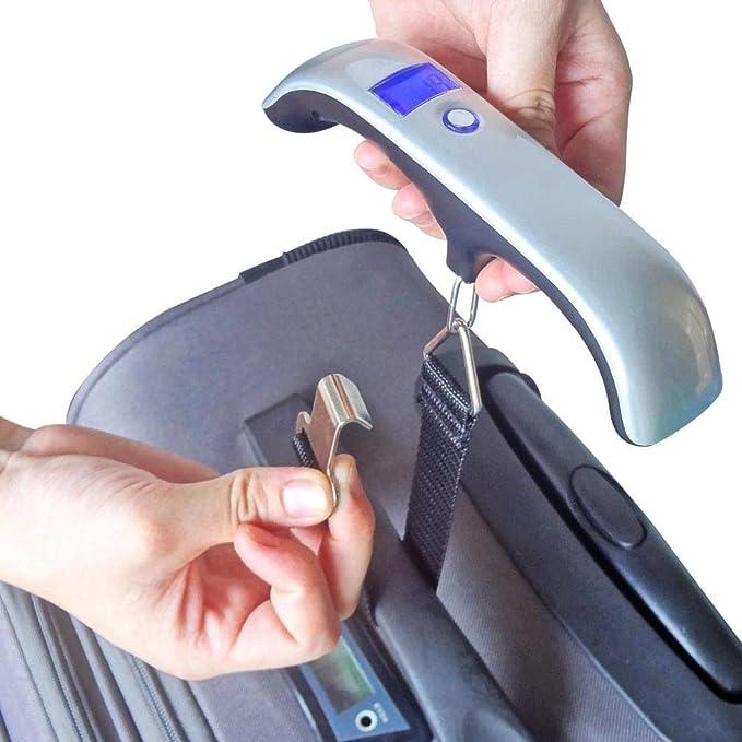Pawaca - Báscula de Equipaje con Pantalla LCD portátil, 50 kg, para Colgar Maletas electrónicas y Digitales, para Uso doméstico, Exterior y como Regalo ...