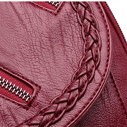 Nuova Tracolla Intrecciata Borsa Pelle Femminile Età Coreana Zaino Versione Morbida Della Impermeabile Esterno A Di Backpackss Nero In Mezza qXHwX