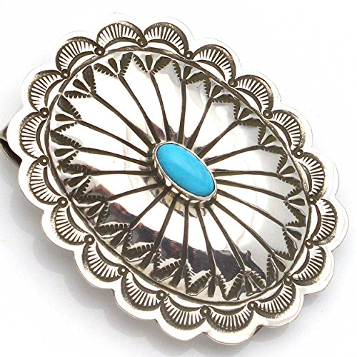 Stamped Sterling Silver & Turquoise Oval Money Clip By Blackgoat (Medallion Clip Silver Money)