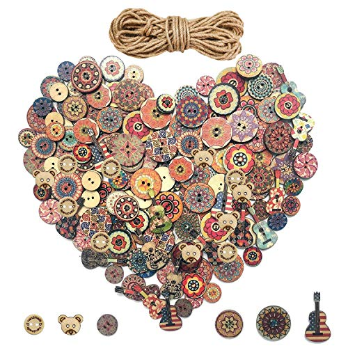 540 Pieces Wood Buttons, 2 Holes Round Flower and Guitar Wooden Buttons Vintage Buttons for DIY Sewing Craft Decorations, with 65.6 Feet Natural Jute Twine