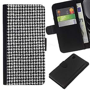 KingStore / Leather Etui en cuir / Sony Xperia Z1 L39 / Negro Blanco clásico patrón de tela de la manera