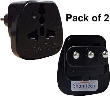 ShaniTech Pack de 2 tipo L adaptador de viaje adaptador de enchufe de alimentación de CA convertidor toma de corriente para Italia Uruguay Norm San Marino: Amazon.es: Electrónica