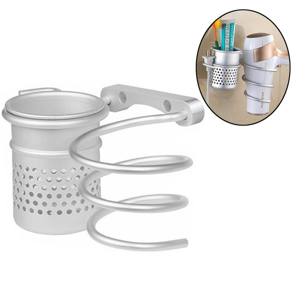 Hair Blow Dryer Holder,Wall Mount Space Aluminum Hair Dryer Storage Organizer Rack with Plug Hook For Bathroom (Style B:With Cup)