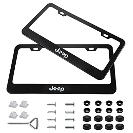 TrailHawk Jeep 3D Emblem Black Stainless Steel License Plate Frame Rust Free