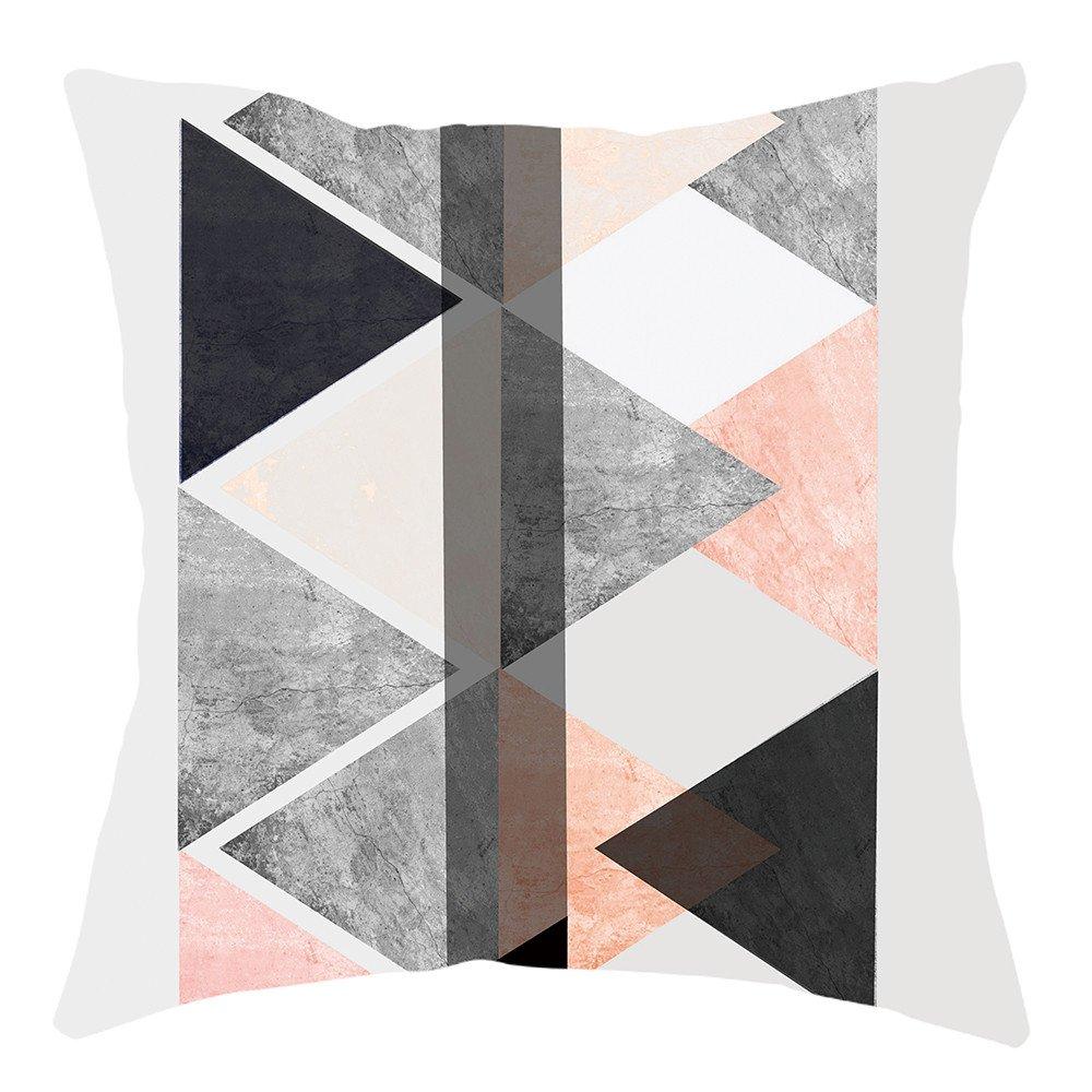 Pgojuni Home Cushion Cover Geometric Throw Pillow Cover Square Accent Cushion Cover Pillow Case for Sofa/Car/Bed 1pc (F)