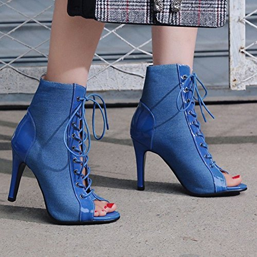 Summer Blue Taoffen Toe Booties Women Peep wxtYYRqX