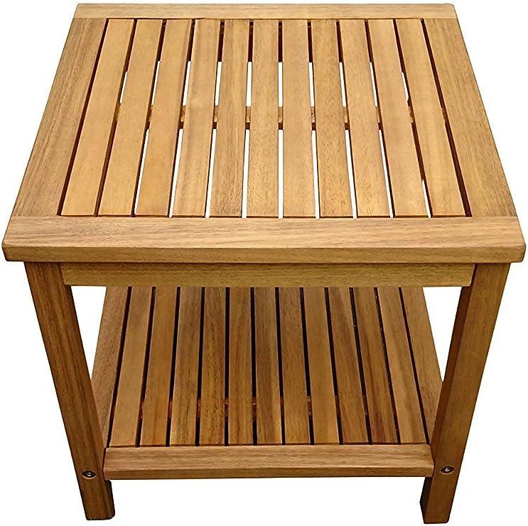 Mesa auxiliar Sam Marit, 45 x 45 cm, madera de acacia con acabado de aceite, mesita con dos repisas, certificación FSC: Amazon.es: Jardín