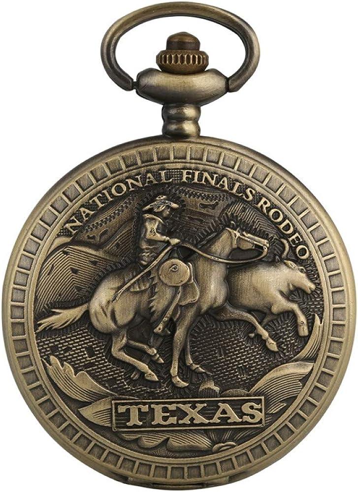 HELBOD Reloj de Bolsillo Bronce US Texas National Finals Rodeo Design Reloj de Bolsillo de Cuarzo Royal Bronze Necklace Colgante Reloj Reloj Regalos para Hombres Mujeres