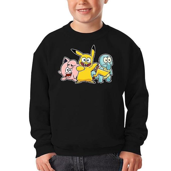 Sudaderas Pokémon;Bob Esponja humorística con Pikachu, Bob Esponja y Sus Amigos (Parodia