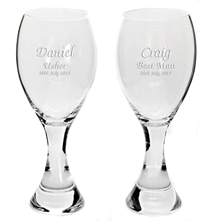 Captivating Personalised Pair Large Thick Stem Handmade Wine Glasses, Any Message  Engraved