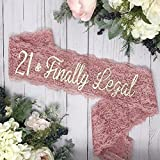 21st Birthday - Lace Birthday Sash - Dusty Rose & Gold