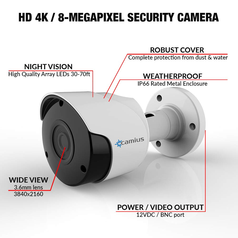 Camius 4K 8MP Outdoor Bullet Home Surveillance CCTV BNC Security Camera, 3840x2160p 4x1080p video , 3.6mm Lens, 70ft Night Vision, Starlight color – for Analog DVR home security cameras system FB4KA