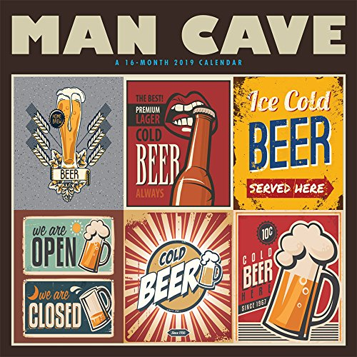 Man Cave 2019 12 x 12 Inch Monthly Square Wall Calendar by Hopper Studios, Humor Entertainment