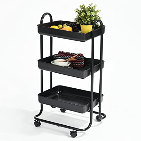 Furniturer Rolling Cart Bathroom Utility Trolley 3 Tier Tray With