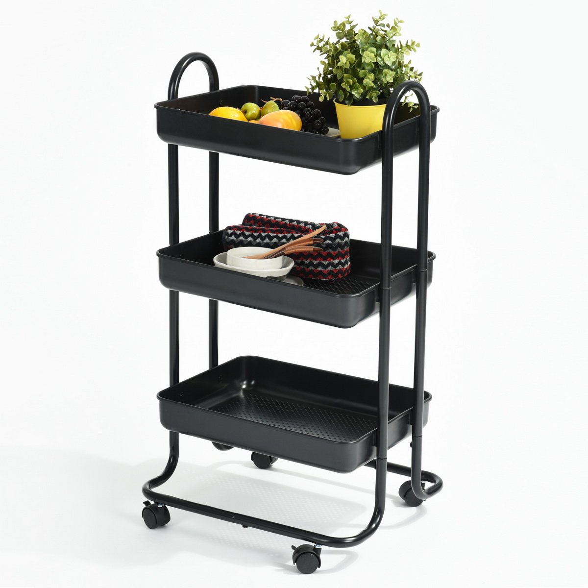 FurnitureR 3-Tier HOME Utility Rolling Cart with Large Storage and with Removable Handle and Plug Indoor or Outdoor Storage Organizer black