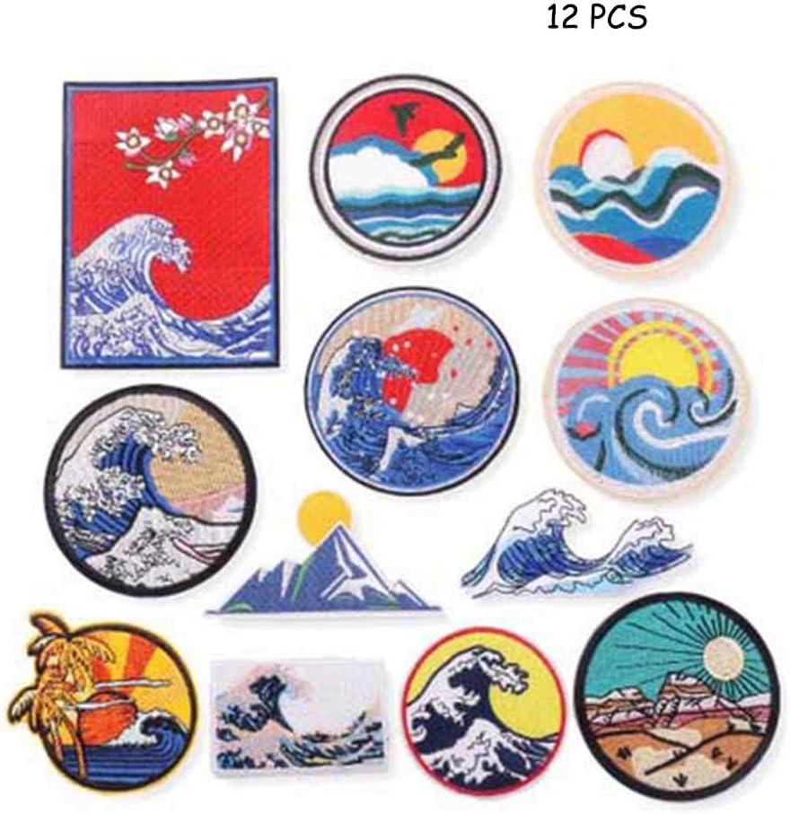 Tpcean 12 parches de parche para planchar con dise/ño de ondas Kanagawa parches bordados para apliques de bricolaje decoraci/ón o reparaci/ón para ropa mochila zapatos