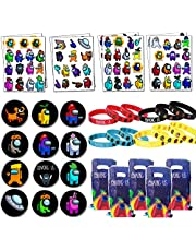 A-mong -U-s Game Birthday Party Favor For Fans - A-mong -U-s Wristbands, Temporary Tattoos, Goodie Gift Bags and Badges for Video Game Themed Party Supplies