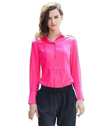 8f55fe32 VOA Women's Blue Pink Long Sleeve Button Down Shirt Silk Top Blouse B6118  at Amazon Women's Clothing store: