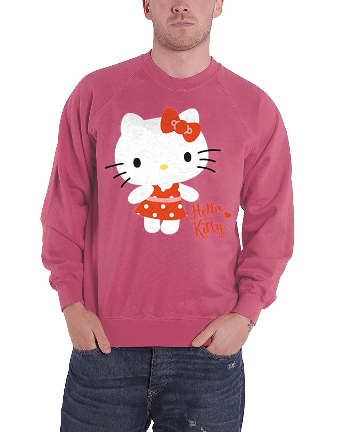 Hello Kitty Sweatshirt Polka Dots logo new Official Slim Fit Pink