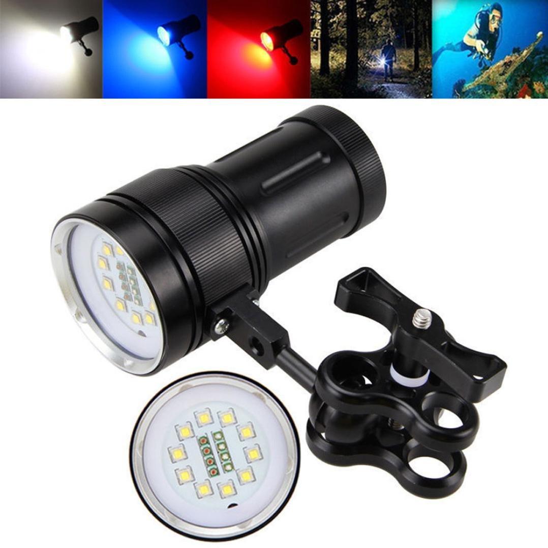 Linterna LED, Xinan 10x XM-L2 + 4x R + 4x B 12000LM Fotografía LED Video Buceo Linterna Negro Xinantime Xinantime_3439