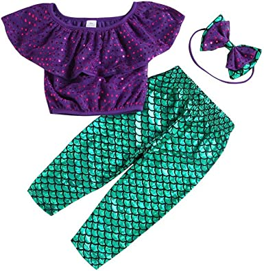 2PCS Toddler Baby Girls Outfits T shirt tops+purple tights pants Clothes set