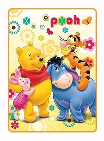 Winnie the Pooh - Manta para Cochecito de bebé, diseño, poliéster, Amarillo, 100 x 140 cm: Amazon.es: Hogar