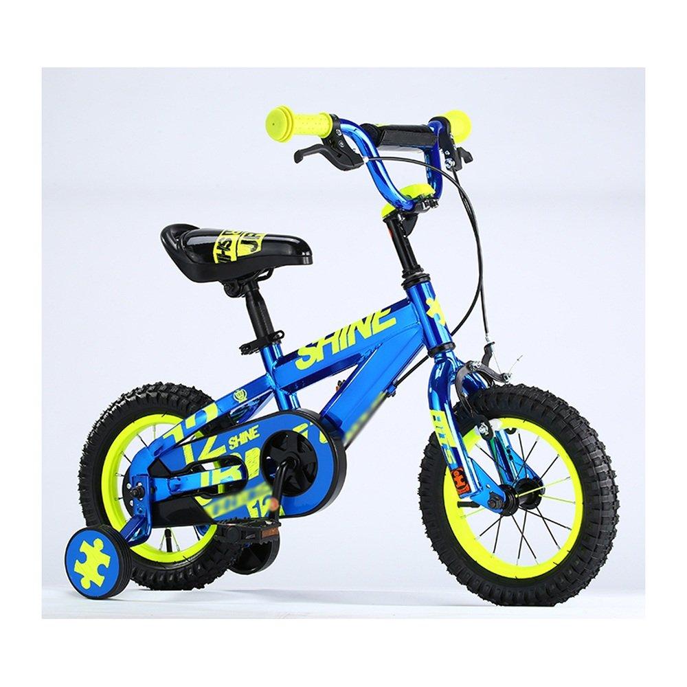 HAIZHEN マウンテンバイク 子供用自転車 トレーニングホイール付きの少年の自転車と少女の自転車 12インチ、14インチ、16インチ、18インチ アウトドアアウト 新生児 B07C6F6R1K 18 inch|青 青 18 inch