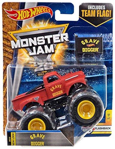 Hot Wheels Grave Digger - Hot Wheels Monster Jam 2017 Flashback Grave Digger (Includes Flag) 1:64 Scale