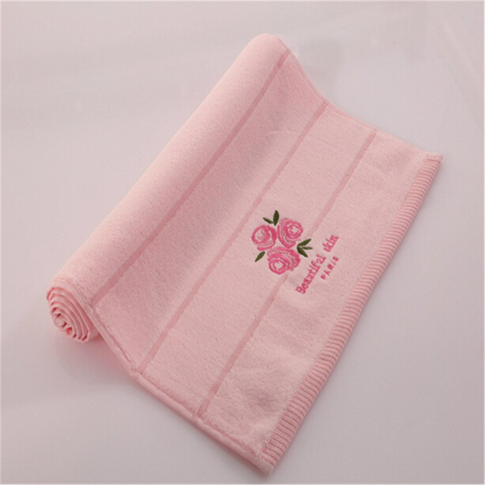 MF 34x34cm 100% Cotton Absorben Quick Dry Soft Rose Fragrance Embroidered Face Towel (Pink) M&F